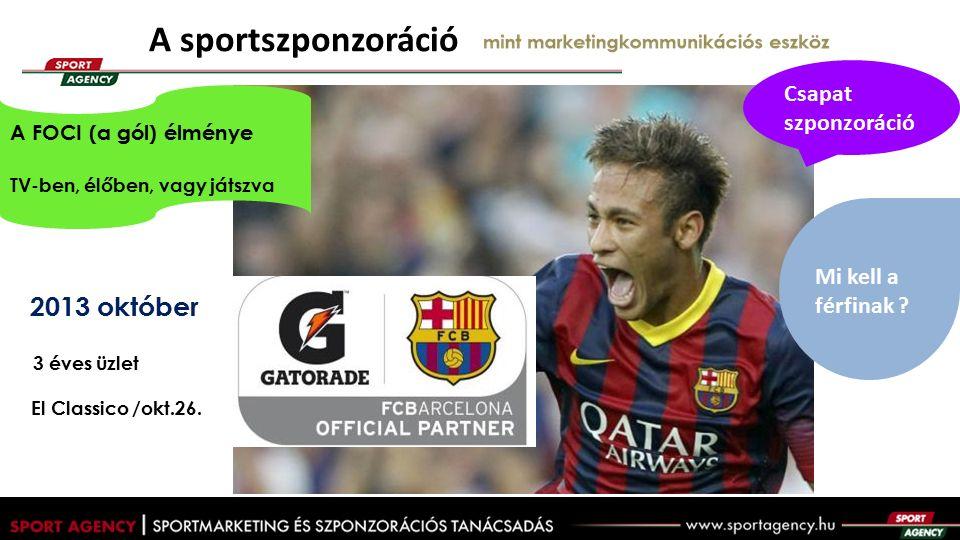 A sportszponzoráció mint marketingkommunikációs eszköz 2013 október 3 éves üzlet El Classico /okt.26.