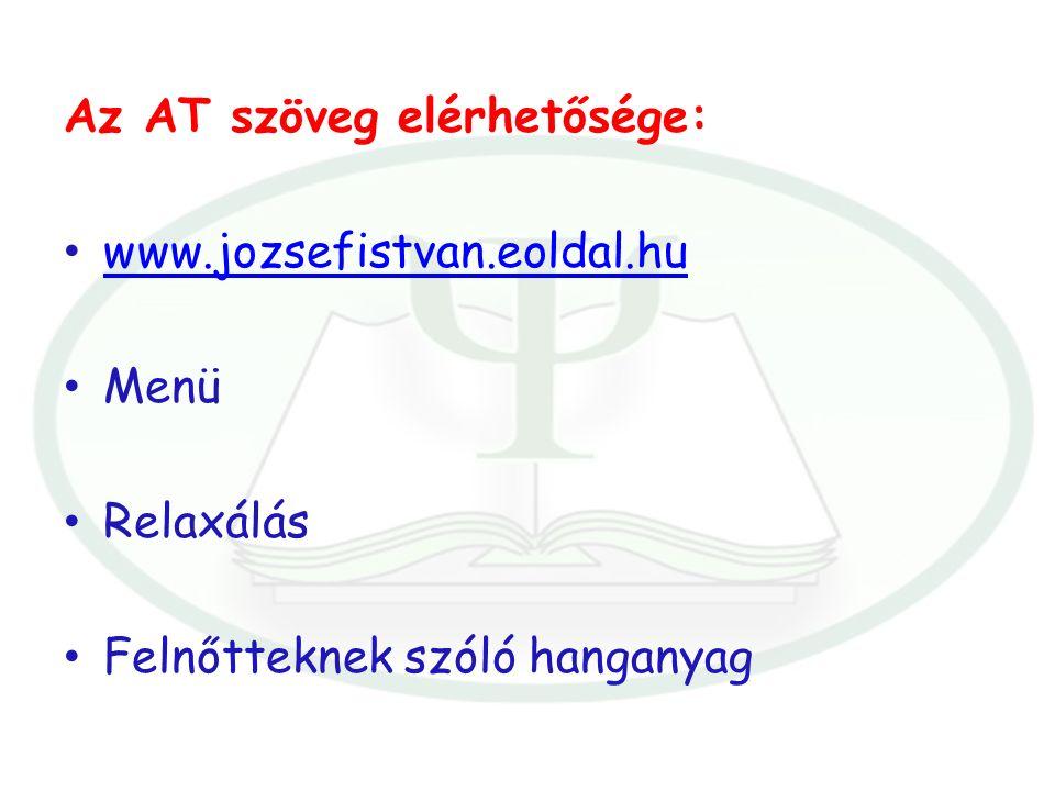 Az AT szöveg elérhetősége: www.jozsefistvan.eoldal.hu Menü Relaxálás Felnőtteknek szóló hanganyag