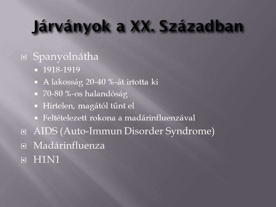 Járványok a XX. Században  Spanyolnátha  1918-1919  A lakosság 20-40 %-át irtotta ki  70-80 %-os halandóság  Hirtelen, magától tűnt el  Feltétel