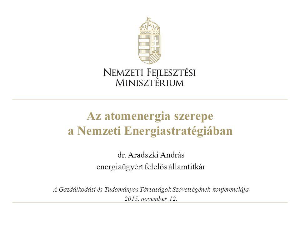 Az atomenergia szerepe a Nemzeti Energiastratégiában dr. Aradszki András energiaügyért felelős államtitkár A Gazdálkodási és Tudományos Társaságok Szö