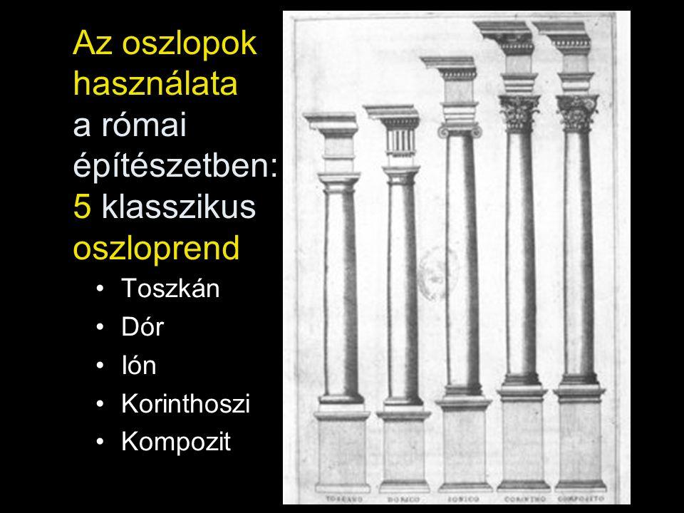 Az oszlopok használata a római építészetben: 5 klasszikus oszloprend Toszkán Dór Ión Korinthoszi Kompozit