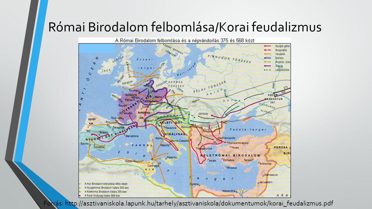 Római Birodalom felbomlása/Korai feudalizmus Forrás: http://asztivaniskola.lapunk.hu/tarhely/asztivaniskola/dokumentumok/korai_feudalizmus.pdf