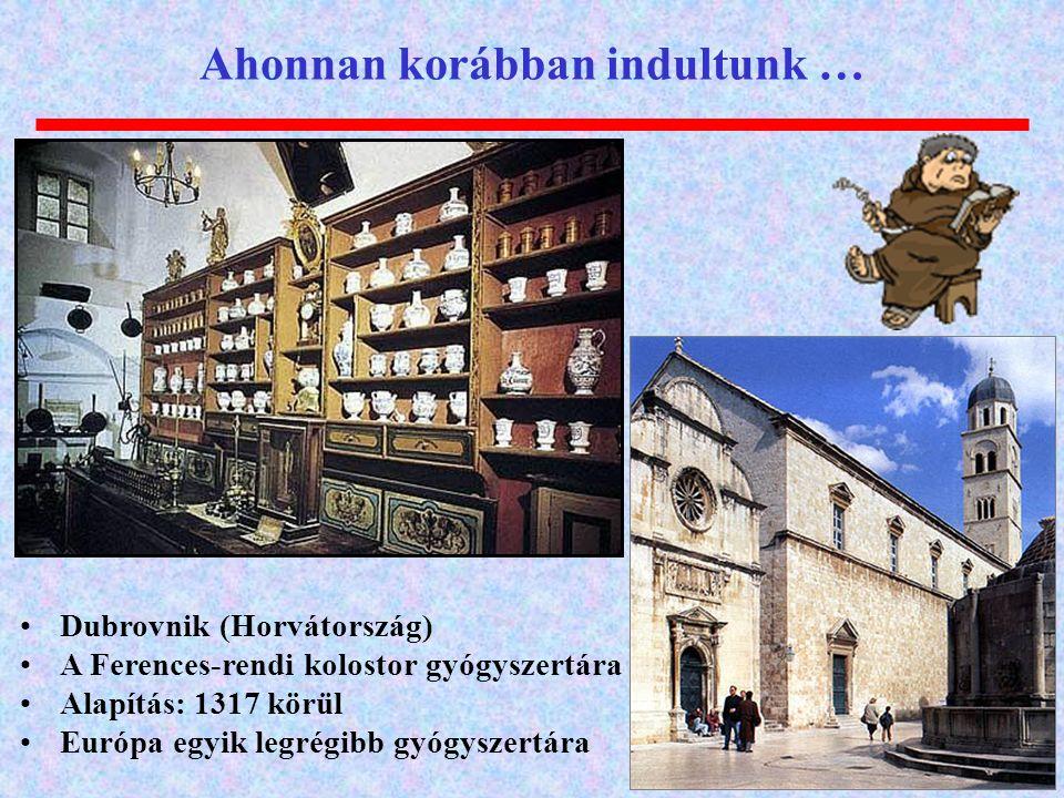 Ahonnan korábban indultunk … Dubrovnik (Horvátország) A Ferences-rendi kolostor gyógyszertára Alapítás: 1317 körül Európa egyik legrégibb gyógyszertár