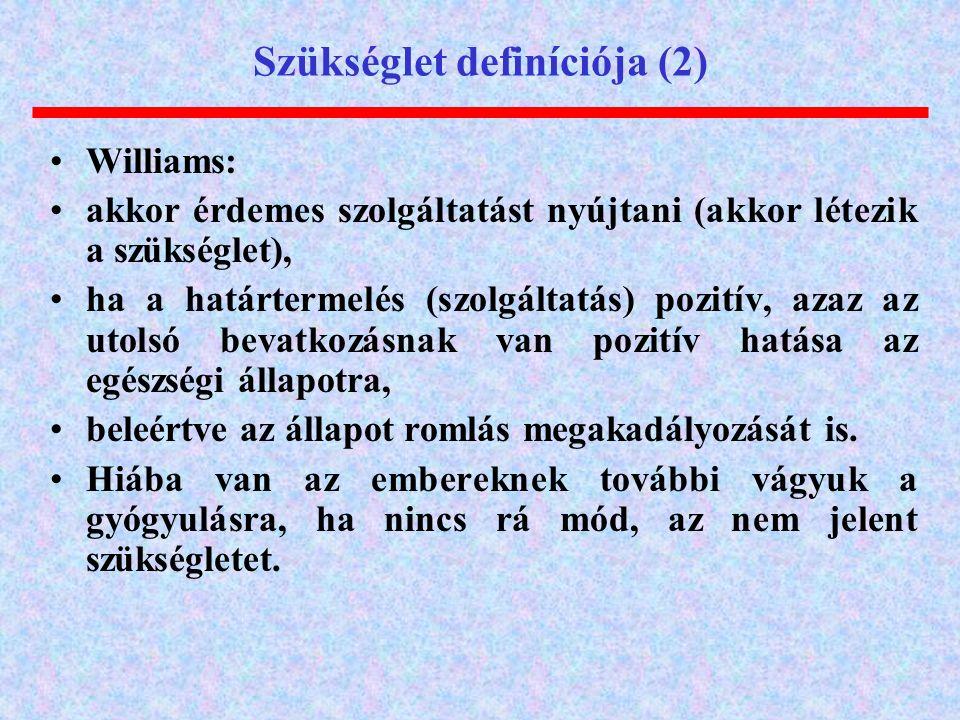 Szükséglet definíciója (2) Williams: akkor érdemes szolgáltatást nyújtani (akkor létezik a szükséglet), ha a határtermelés (szolgáltatás) pozitív, azaz az utolsó bevatkozásnak van pozitív hatása az egészségi állapotra, beleértve az állapot romlás megakadályozását is.