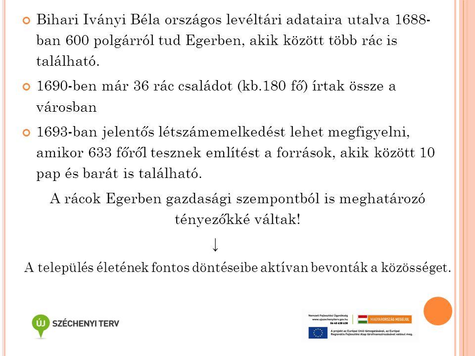 Bihari Iványi Béla országos levéltári adataira utalva 1688- ban 600 polgárról tud Egerben, akik között több rác is található. 1690-ben már 36 rác csal