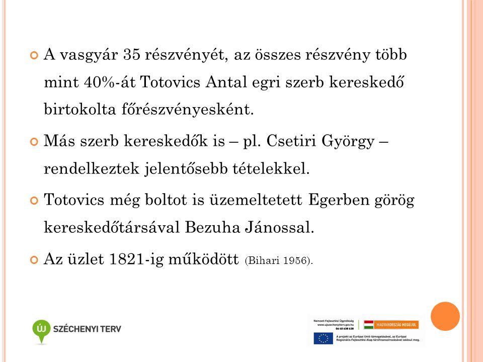 A vasgyár 35 részvényét, az összes részvény több mint 40%-át Totovics Antal egri szerb kereskedő birtokolta főrészvényesként. Más szerb kereskedők is