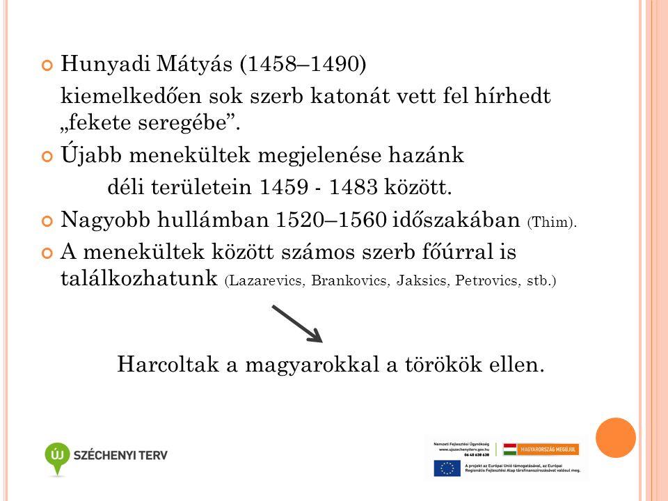 """Hunyadi Mátyás (1458–1490) kiemelkedően sok szerb katonát vett fel hírhedt """"fekete seregébe"""". Újabb menekültek megjelenése hazánk déli területein 1459"""