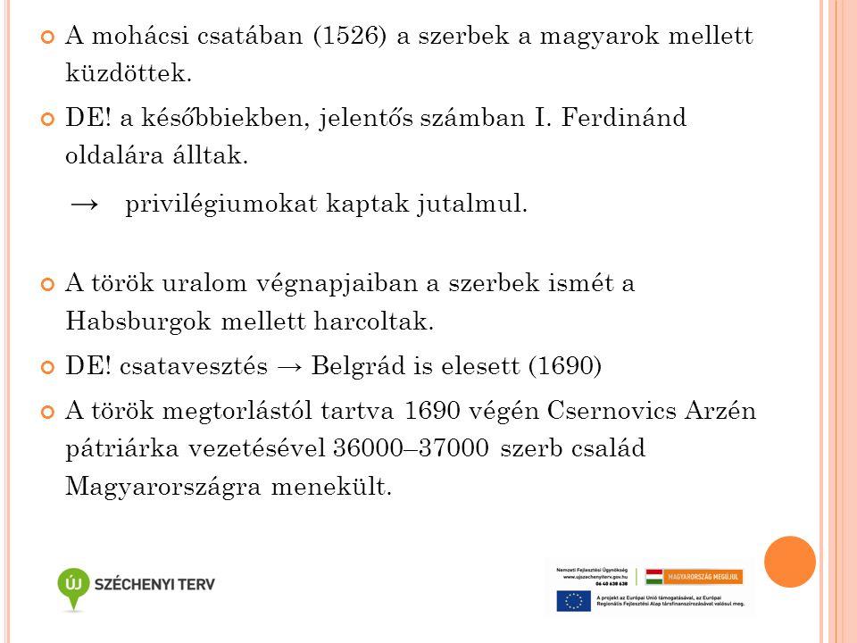 A mohácsi csatában (1526) a szerbek a magyarok mellett küzdöttek. DE! a későbbiekben, jelentős számban I. Ferdinánd oldalára álltak. → privilégiumokat
