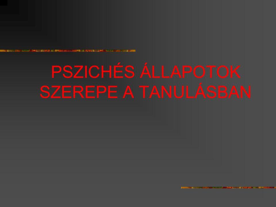 PSZICHÉS ÁLLAPOTOK SZEREPE A TANULÁSBAN