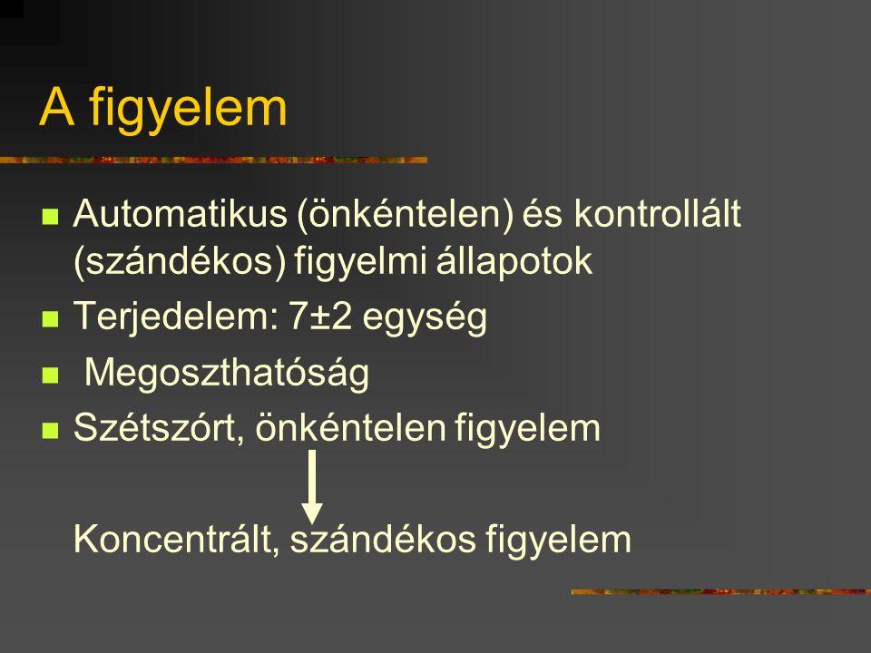 A figyelem Automatikus (önkéntelen) és kontrollált (szándékos) figyelmi állapotok Terjedelem: 7±2 egység Megoszthatóság Szétszórt, önkéntelen figyelem Koncentrált, szándékos figyelem