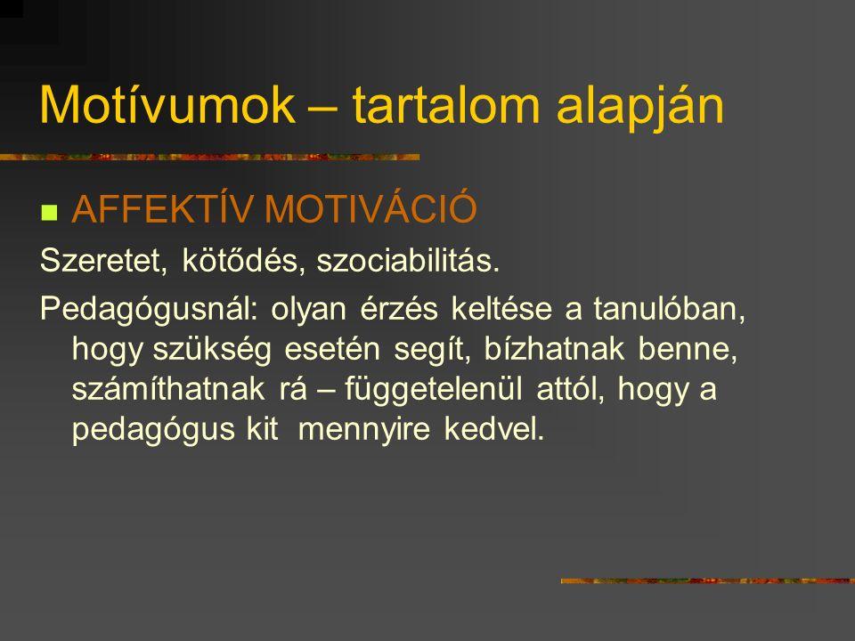 Motívumok – tartalom alapján AFFEKTÍV MOTIVÁCIÓ Szeretet, kötődés, szociabilitás.