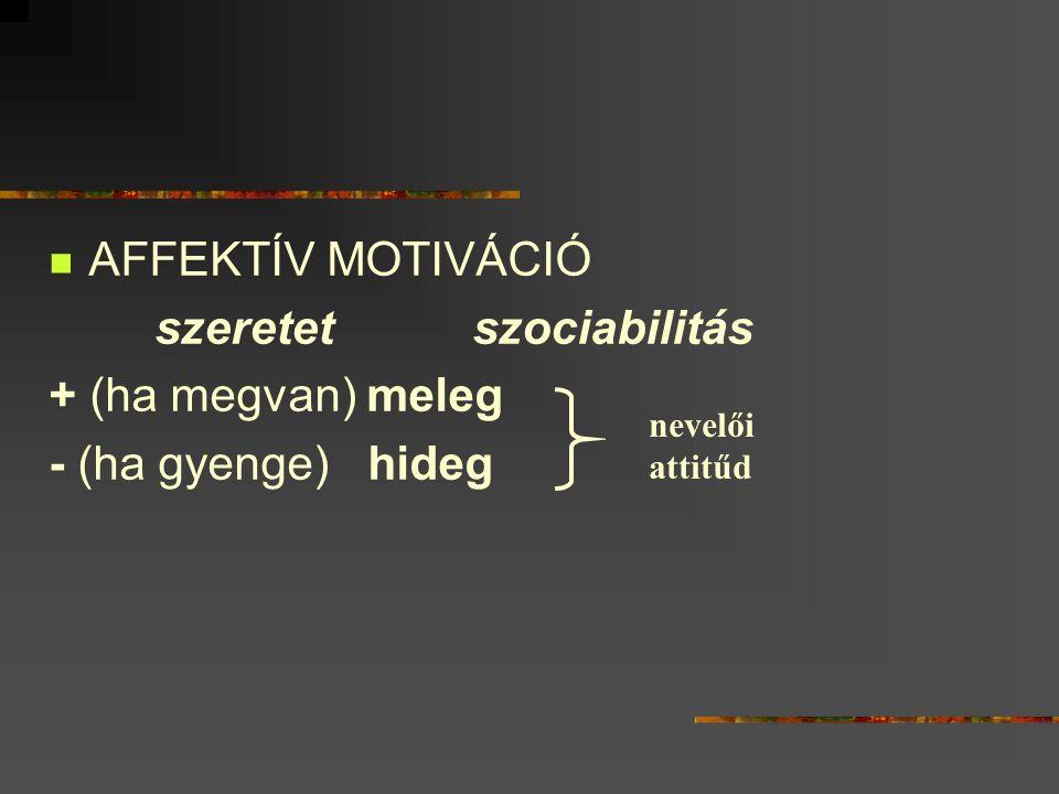 AFFEKTÍV MOTIVÁCIÓ szeretetszociabilitás + (ha megvan) meleg - (ha gyenge) hideg nevelői attitűd