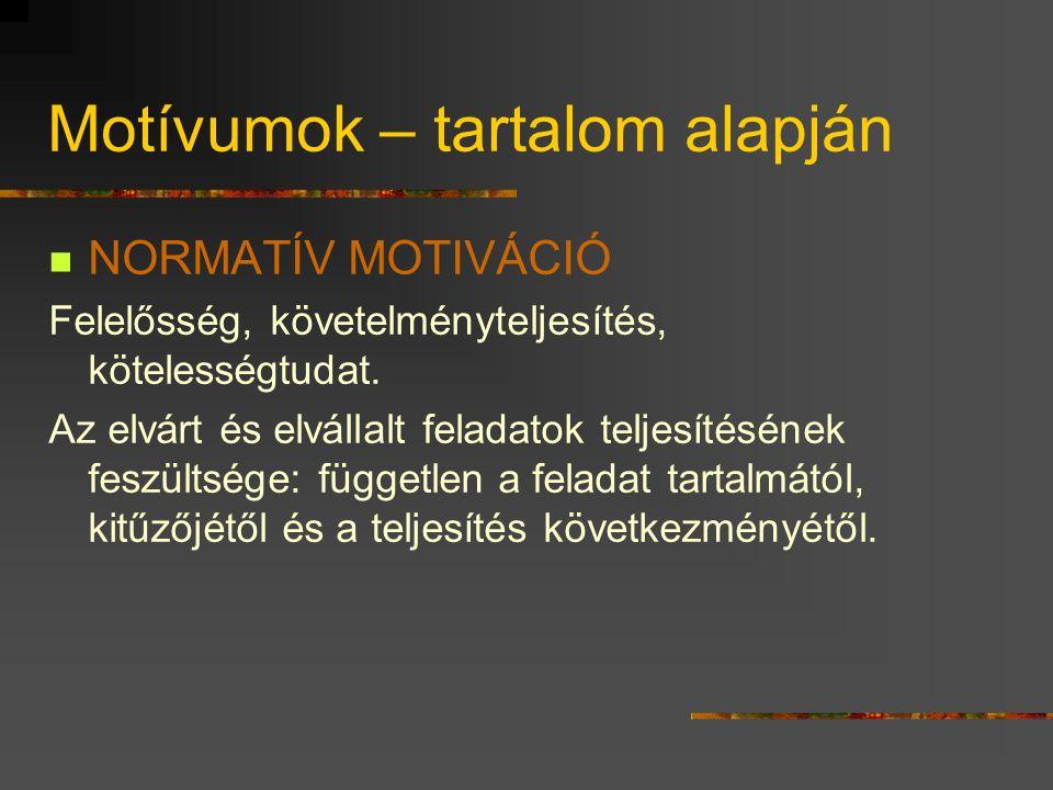 Motívumok – tartalom alapján NORMATÍV MOTIVÁCIÓ Felelősség, követelményteljesítés, kötelességtudat.