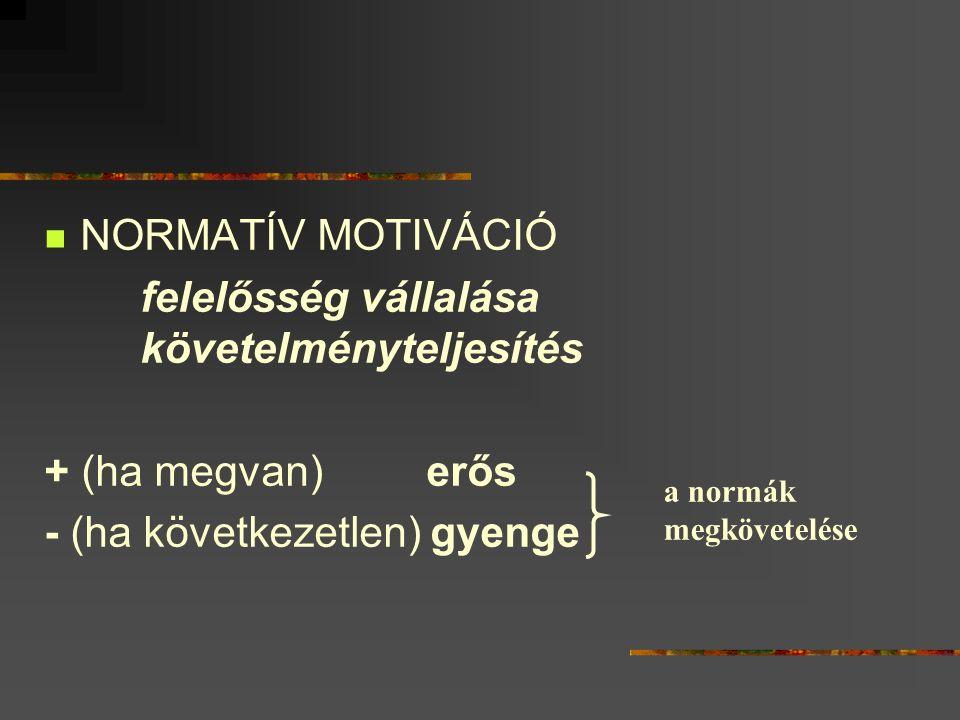NORMATÍV MOTIVÁCIÓ felelősség vállalása követelményteljesítés + (ha megvan) erős - (ha következetlen) gyenge a normák megkövetelése