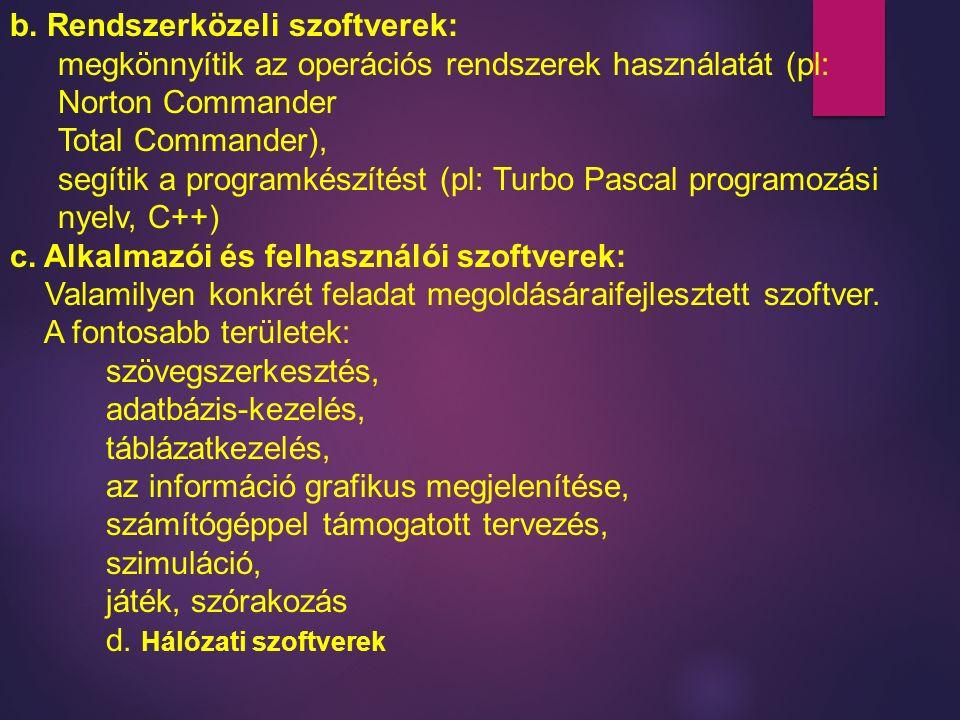 b. Rendszerközeli szoftverek: megkönnyítik az operációs rendszerek használatát (pl: Norton Commander Total Commander), segítik a programkészítést (pl: