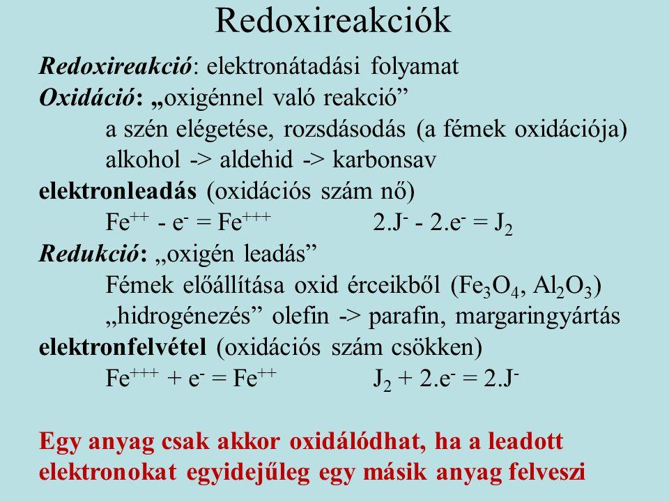 """Redoxireakciók Redoxireakció: elektronátadási folyamat Oxidáció: """"oxigénnel való reakció a szén elégetése, rozsdásodás (a fémek oxidációja) alkohol -> aldehid -> karbonsav elektronleadás (oxidációs szám nő) Fe ++ - e - = Fe +++ 2.J - - 2.e - = J 2 Redukció: """"oxigén leadás Fémek előállítása oxid érceikből (Fe 3 O 4, Al 2 O 3 ) """"hidrogénezés olefin -> parafin, margaringyártás elektronfelvétel (oxidációs szám csökken) Fe +++ + e - = Fe ++ J 2 + 2.e - = 2.J - Egy anyag csak akkor oxidálódhat, ha a leadott elektronokat egyidejűleg egy másik anyag felveszi"""