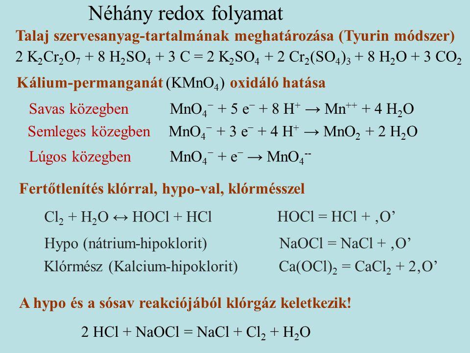Talaj szervesanyag-tartalmának meghatározása (Tyurin módszer) 2 K 2 Cr 2 O 7 + 8 H 2 SO 4 + 3 C = 2 K 2 SO 4 + 2 Cr 2 (SO 4 ) 3 + 8 H 2 O + 3 CO 2 Savas közegbenMnO 4 − + 5 e − + 8 H + → Mn ++ + 4 H 2 O Semleges közegbenMnO 4 − + 3 e − + 4 H + → MnO 2 + 2 H 2 O Lúgos közegbenMnO 4 − + e − → MnO 4 -- Kálium-permanganát (KMnO 4 ) oxidáló hatása A hypo és a sósav reakciójából klórgáz keletkezik.