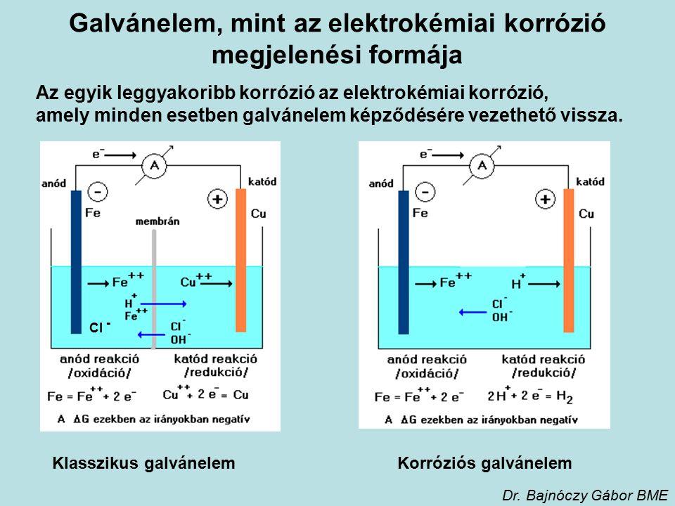 Galvánelem, mint az elektrokémiai korrózió megjelenési formája Az egyik leggyakoribb korrózió az elektrokémiai korrózió, amely minden esetben galvánelem képződésére vezethető vissza.