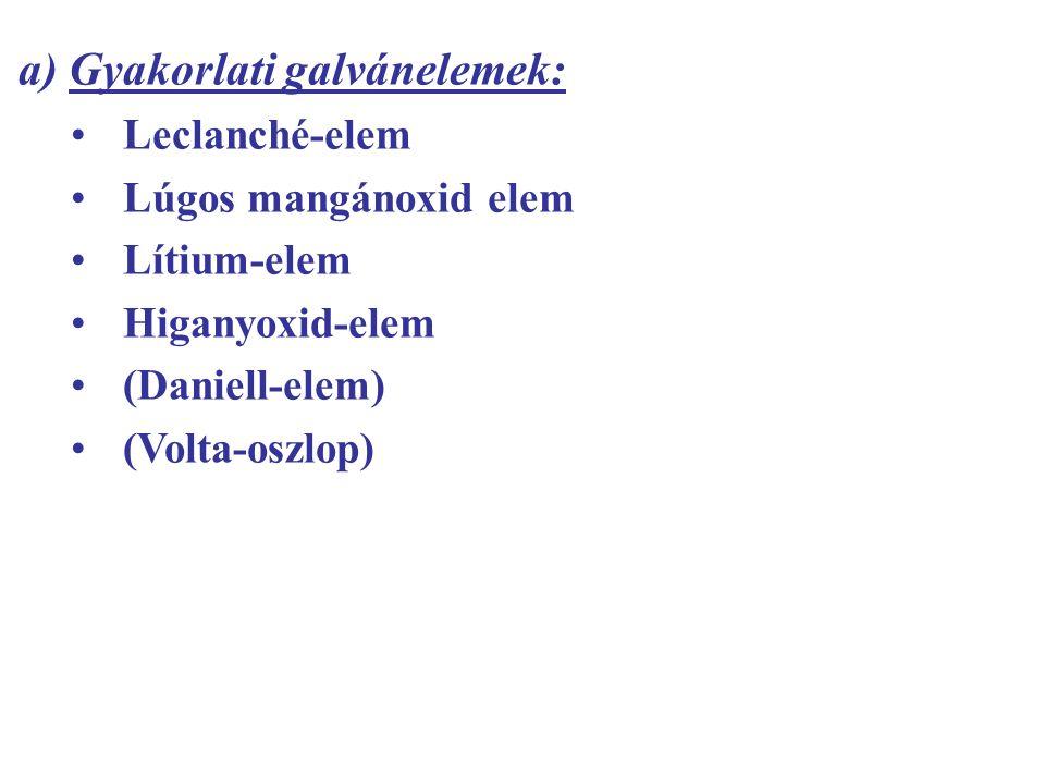 a) Gyakorlati galvánelemek: Leclanché-elem Lúgos mangánoxid elem Lítium-elem Higanyoxid-elem (Daniell-elem) (Volta-oszlop)