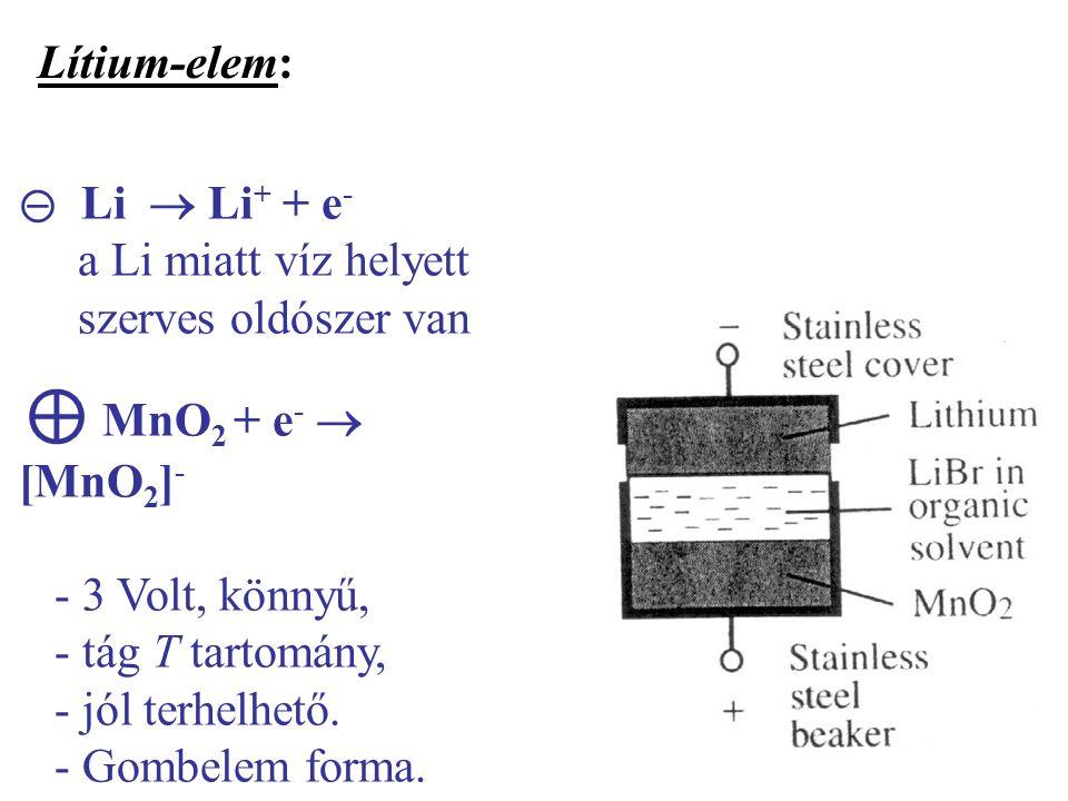 ⊝ Li  Li + + e - a Li miatt víz helyett szerves oldószer van ⊕ MnO 2 + e -  [MnO 2 ] - - 3 Volt, könnyű, - tág T tartomány, - jól terhelhető.