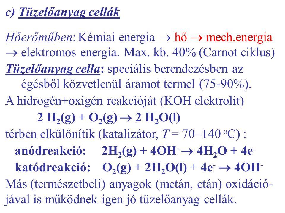 c) Tüzelőanyag cellák Hőerőműben: Kémiai energia  hő  mech.energia  elektromos energia. Max. kb. 40% (Carnot ciklus) Tüzelőanyag cella: speciális b