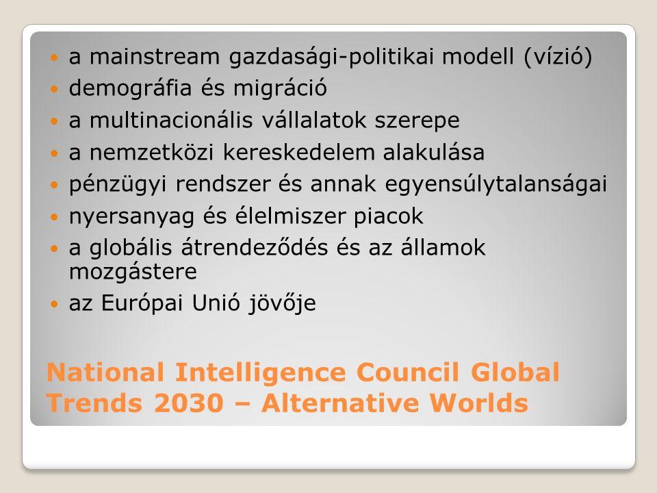 National Intelligence Council Global Trends 2030 – Alternative Worlds a mainstream gazdasági-politikai modell (vízió) demográfia és migráció a multinacionális vállalatok szerepe a nemzetközi kereskedelem alakulása pénzügyi rendszer és annak egyensúlytalanságai nyersanyag és élelmiszer piacok a globális átrendeződés és az államok mozgástere az Európai Unió jövője