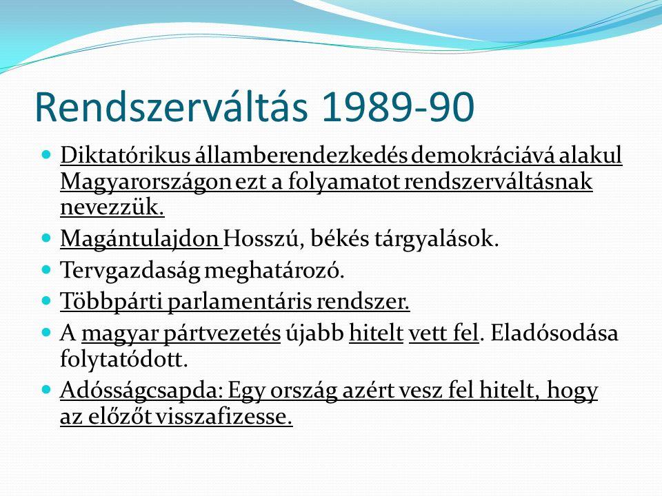 Rendszerváltás 1989-90 Diktatórikus államberendezkedés demokráciává alakul Magyarországon ezt a folyamatot rendszerváltásnak nevezzük. Magántulajdon H