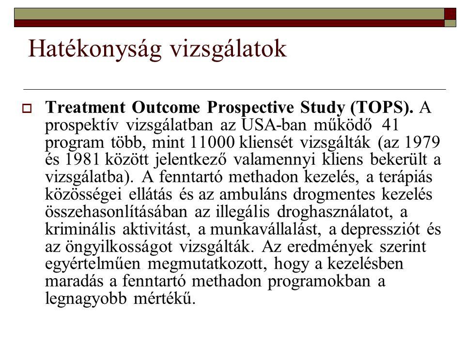 Hatékonyság vizsgálatok  Treatment Outcome Prospective Study (TOPS). A prospektív vizsgálatban az USA-ban működő 41 program több, mint 11000 kliensét