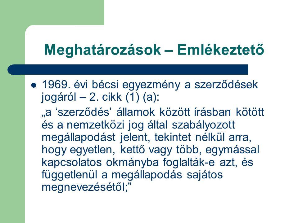 Meghatározások – Emlékeztető 1969. évi bécsi egyezmény a szerződések jogáról – 2.