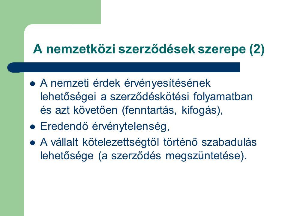 A szerződések növekvő szerepe Nincs idő arra, hogy a szokásjog kifejlődjön a technikailag összetett területeken (pl.