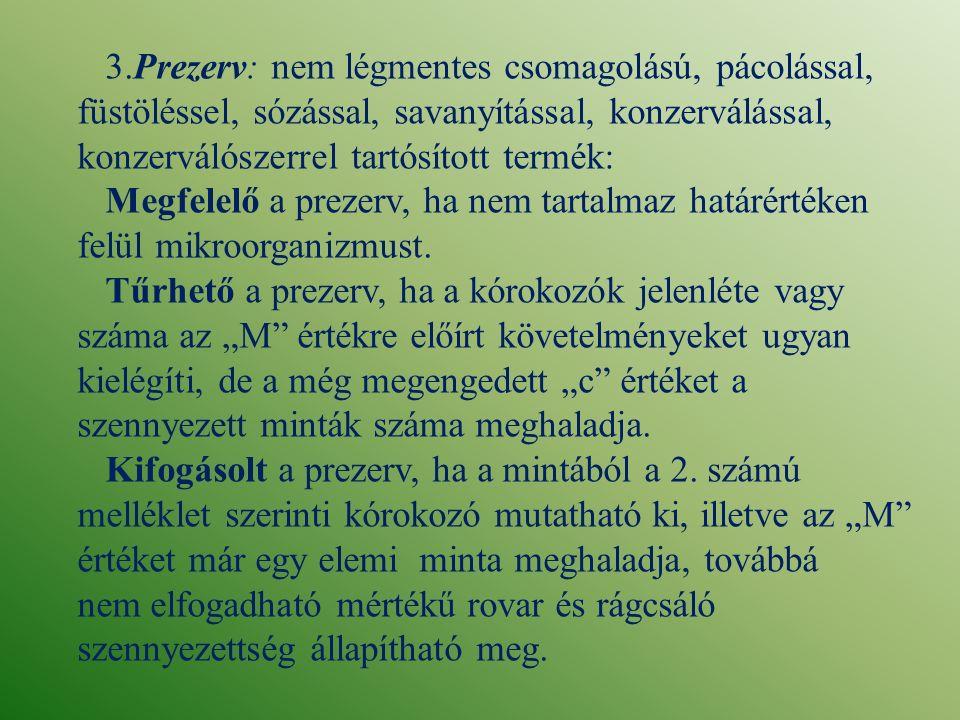 3.Prezerv: nem légmentes csomagolású, pácolással, füstöléssel, sózással, savanyítással, konzerválással, konzerválószerrel tartósított termék: Megfelel