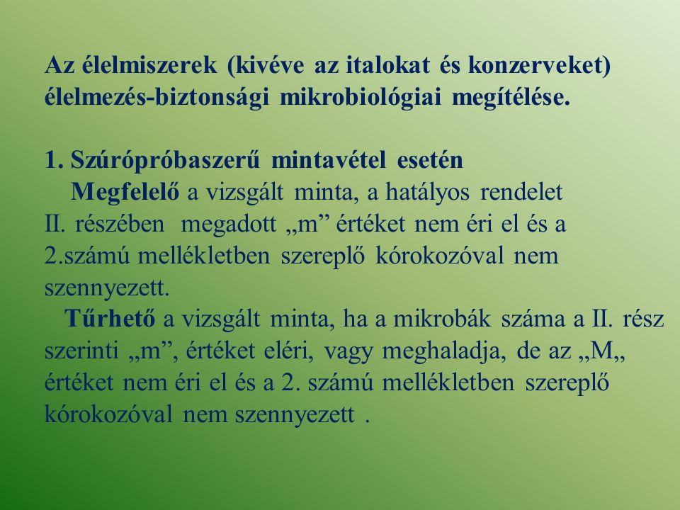 Kifogásolt a vizsgált minta, ha tiltott kórokozó illetve, határértéken felüli kórokozó mutatható ki benne, illetőleg a rendelet II.