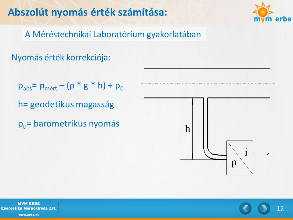 Abszolút nyomás érték számítása: A Méréstechnikai Laboratórium gyakorlatában Nyomás érték korrekciója: p abs = p mért – (ρ * g * h) + p 0 h= geodetikus magasság p 0 = barometrikus nyomás