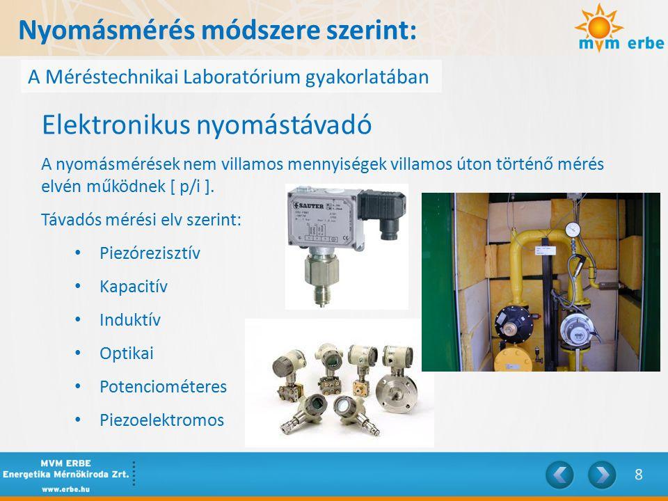 Nyomásmérés módszere szerint: A Méréstechnikai Laboratórium gyakorlatában Elektronikus nyomástávadó A nyomásmérések nem villamos mennyiségek villamos úton történő mérés elvén működnek [ p/i ].