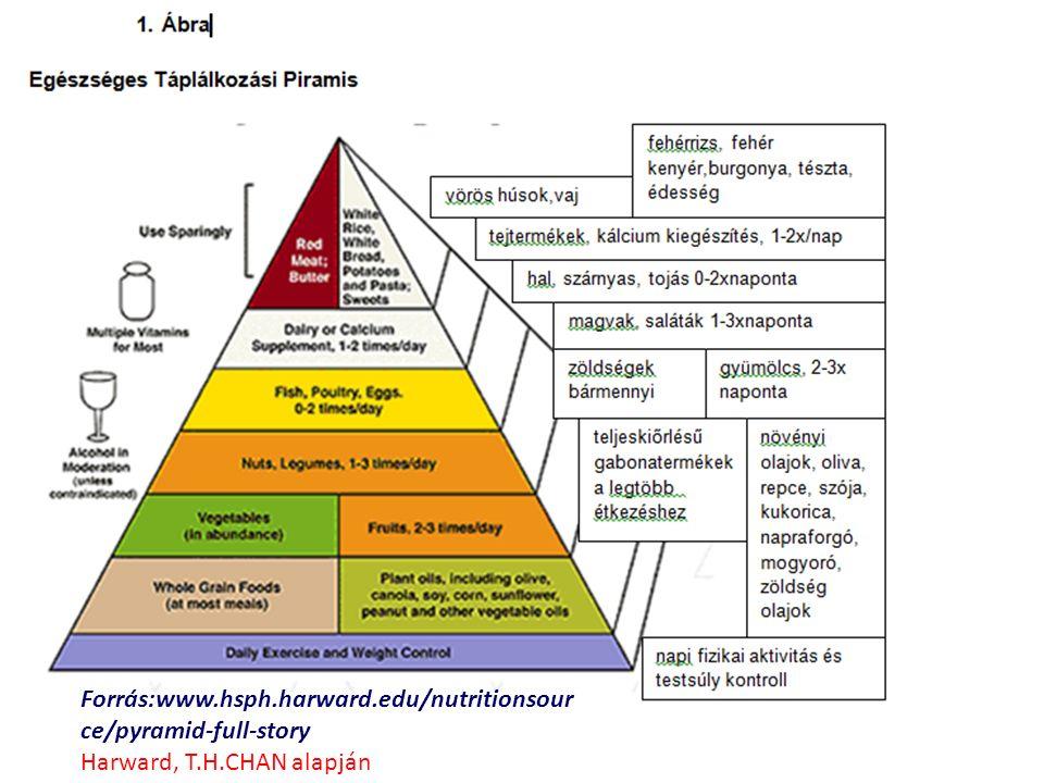 Forrás:www.hsph.harward.edu/nutritionsour ce/pyramid-full-story Harward, T.H.CHAN alapján