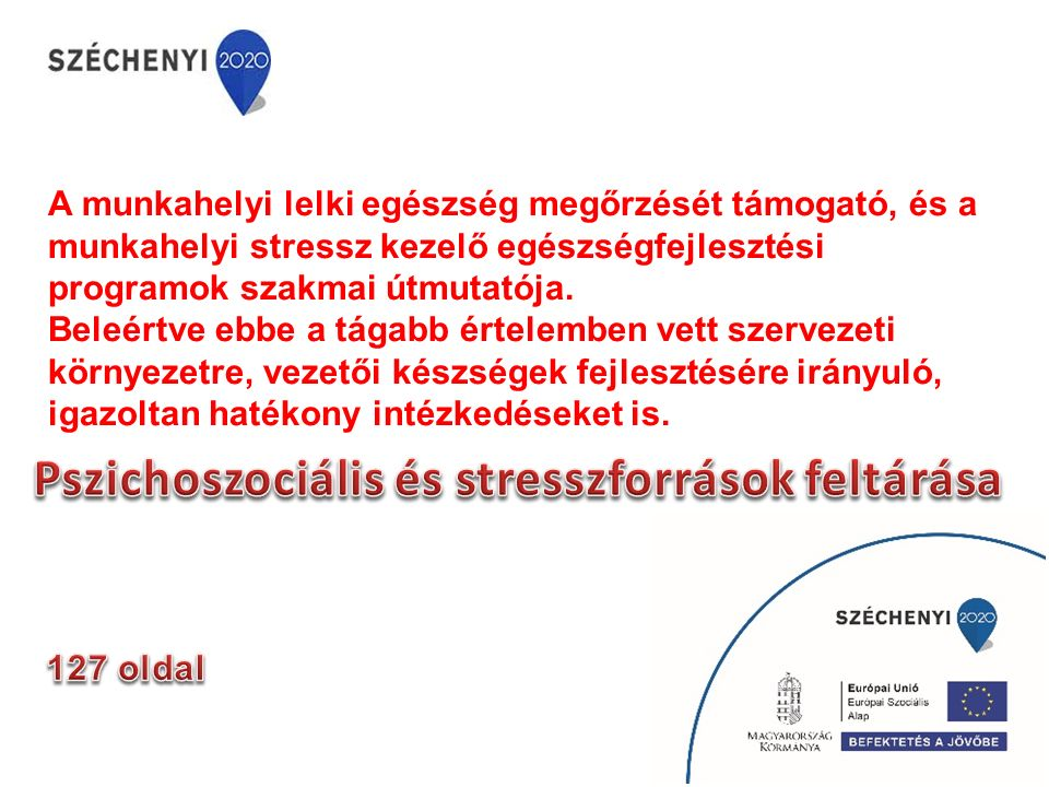 A munkahelyi lelki egészség megőrzését támogató, és a munkahelyi stressz kezelő egészségfejlesztési programok szakmai útmutatója. Beleértve ebbe a tág