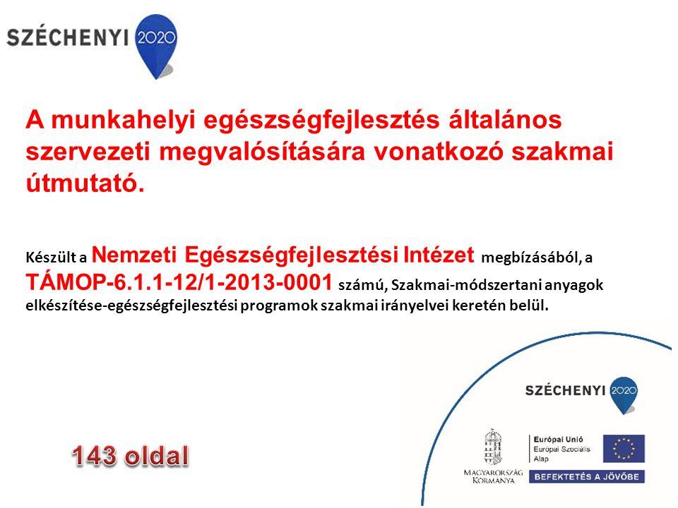 A munkahelyi egészségfejlesztés a munkaadók, a munkavállalók és a társadalom közös tevékenysége a munkahelyi egészség és jóllét javításának céljából, életmód alapú egészségfejlesztési célú tevékenységek és a munkáltatói valamint a munkahelyi egészségpolitika együttese Luxembourg Declaration in Workplace Health Promotion in the European Union www.enwhp.org/.../rs.../Luxembourg_Declaration