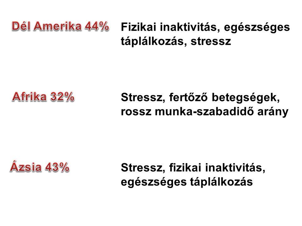 Fizikai inaktivitás, egészséges táplálkozás, stressz Stressz, fertőző betegségek, rossz munka-szabadidő arány Stressz, fizikai inaktivitás, egészséges