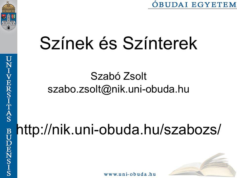 Színek és színterek szabo.zsolt@nik.bmf.hu 82/116 HSV Színtávolság ROI val ROI meghatározása: Selection/Rectangle, majd egérrel a 2.