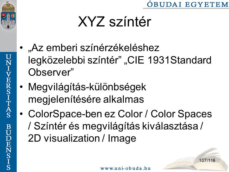 """107/116 XYZ színtér """"Az emberi színérzékeléshez legközelebbi színtér """"CIE 1931Standard Observer Megvilágítás-különbségek megjelenítésére alkalmas ColorSpace-ben ez Color / Color Spaces / Színtér és megvilágítás kiválasztása / 2D visualization / Image"""