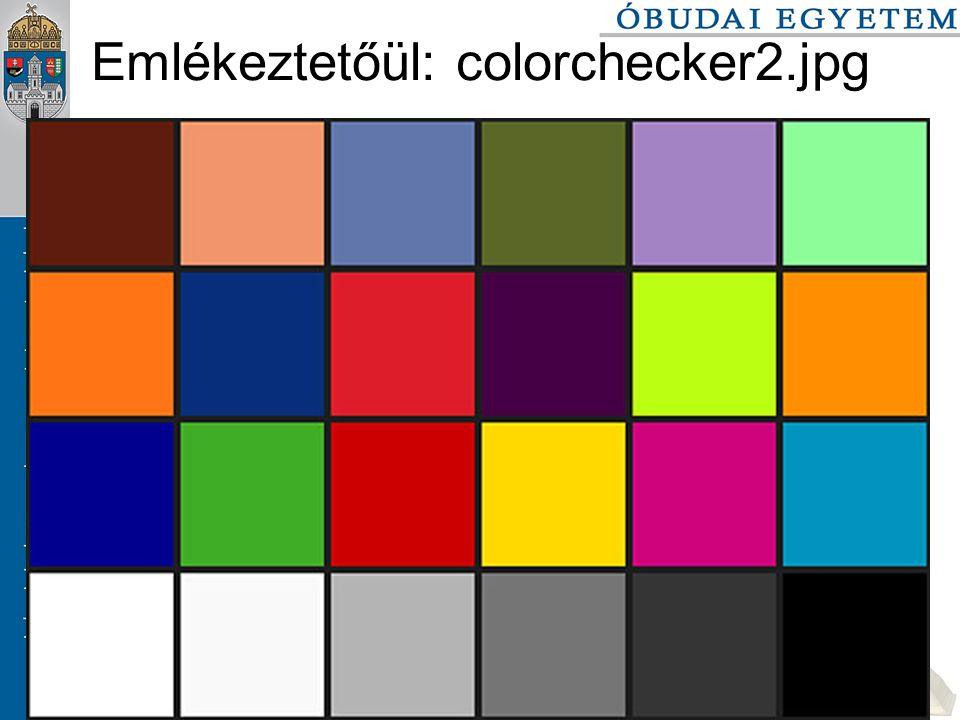 2016. 09. 26.Színek és színterek szabo.zsolt@nik.bmf.hu 108/116 Emlékeztetőül: colorchecker2.jpg