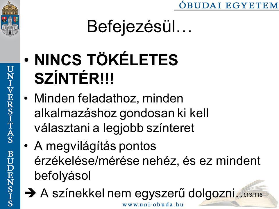 113/116 Befejezésül… NINCS TÖKÉLETES SZÍNTÉR!!.