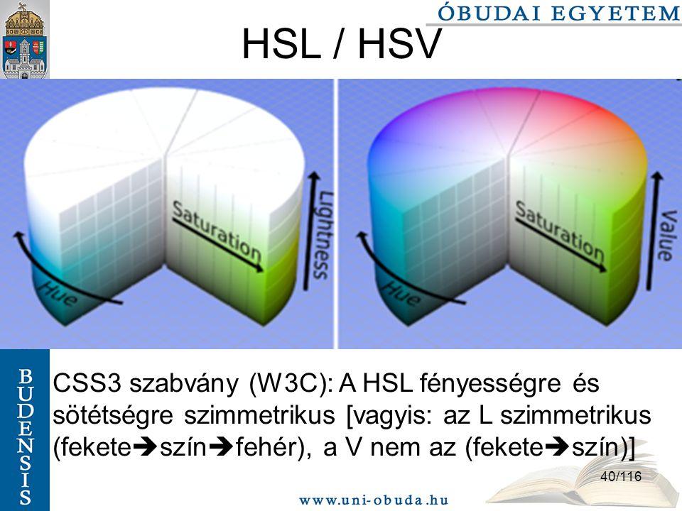 40/116 HSL / HSV CSS3 szabvány (W3C): A HSL fényességre és sötétségre szimmetrikus [vagyis: az L szimmetrikus (fekete  szín  fehér), a V nem az (fekete  szín)]