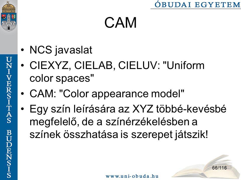 66/116 CAM NCS javaslat CIEXYZ, CIELAB, CIELUV: Uniform color spaces CAM: Color appearance model Egy szín leírására az XYZ többé-kevésbé megfelelő, de a színérzékelésben a színek összhatása is szerepet játszik!