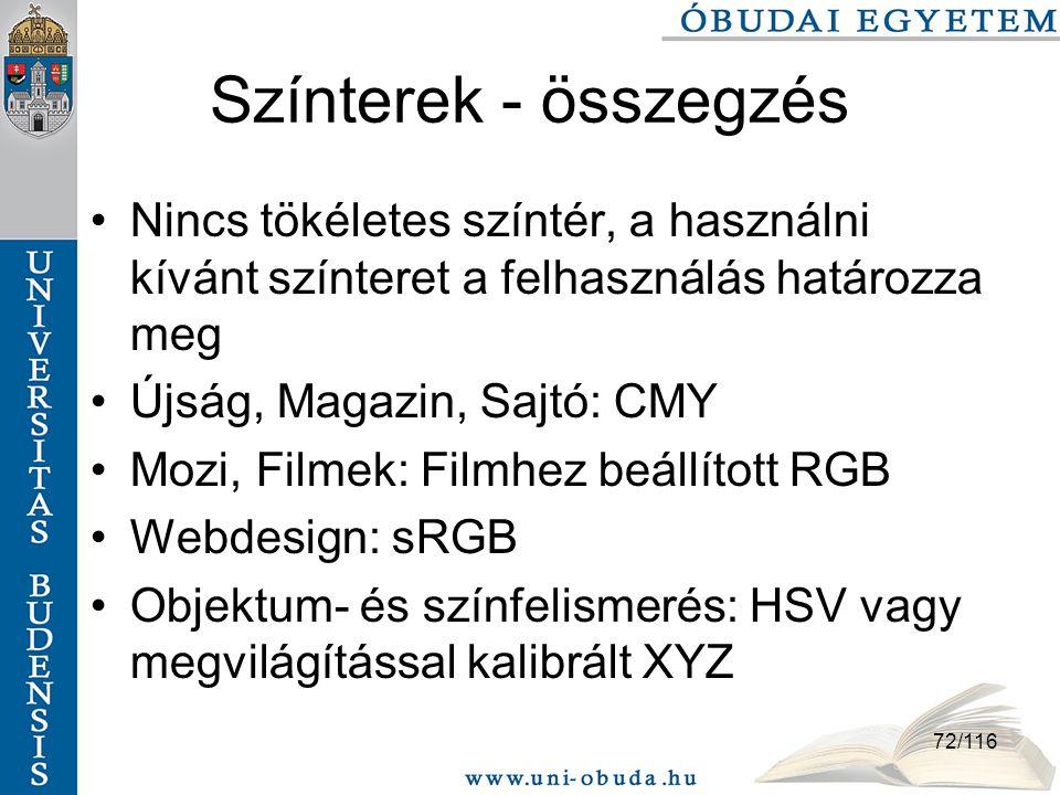 72/116 Színterek - összegzés Nincs tökéletes színtér, a használni kívánt színteret a felhasználás határozza meg Újság, Magazin, Sajtó: CMY Mozi, Filmek: Filmhez beállított RGB Webdesign: sRGB Objektum- és színfelismerés: HSV vagy megvilágítással kalibrált XYZ