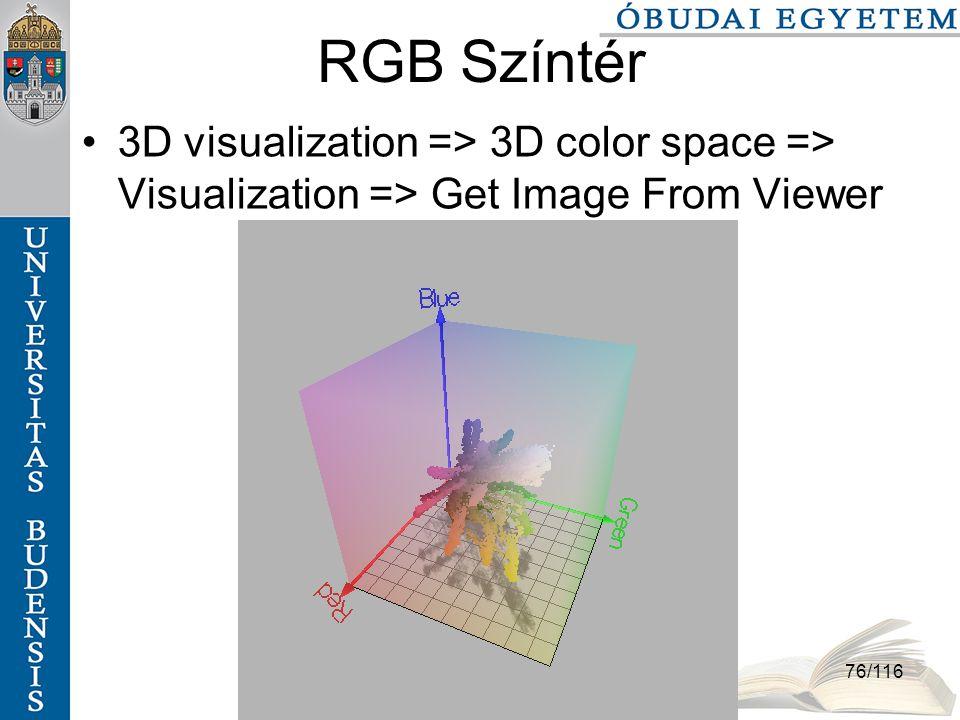 Színek és színterek szabo.zsolt@nik.bmf.hu 76/116 RGB Színtér 3D visualization => 3D color space => Visualization => Get Image From Viewer
