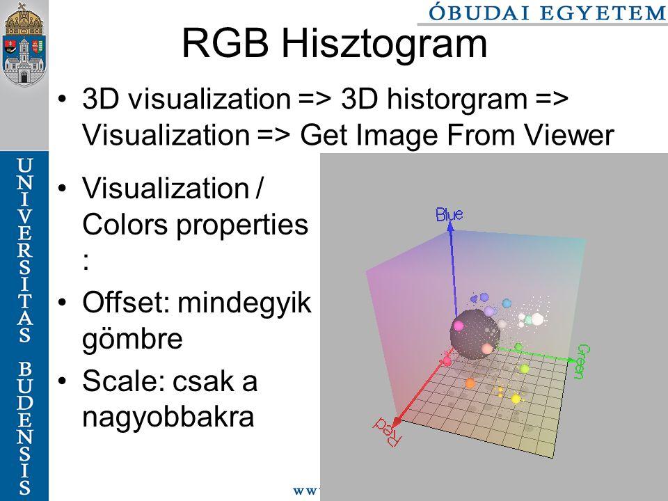 77/116 RGB Hisztogram 3D visualization => 3D historgram => Visualization => Get Image From Viewer Visualization / Colors properties : Offset: mindegyik gömbre Scale: csak a nagyobbakra