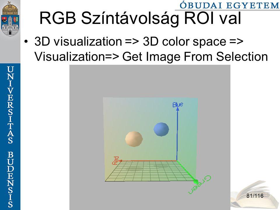 Színek és színterek szabo.zsolt@nik.bmf.hu 81/116 RGB Színtávolság ROI val 3D visualization => 3D color space => Visualization=> Get Image From Selection
