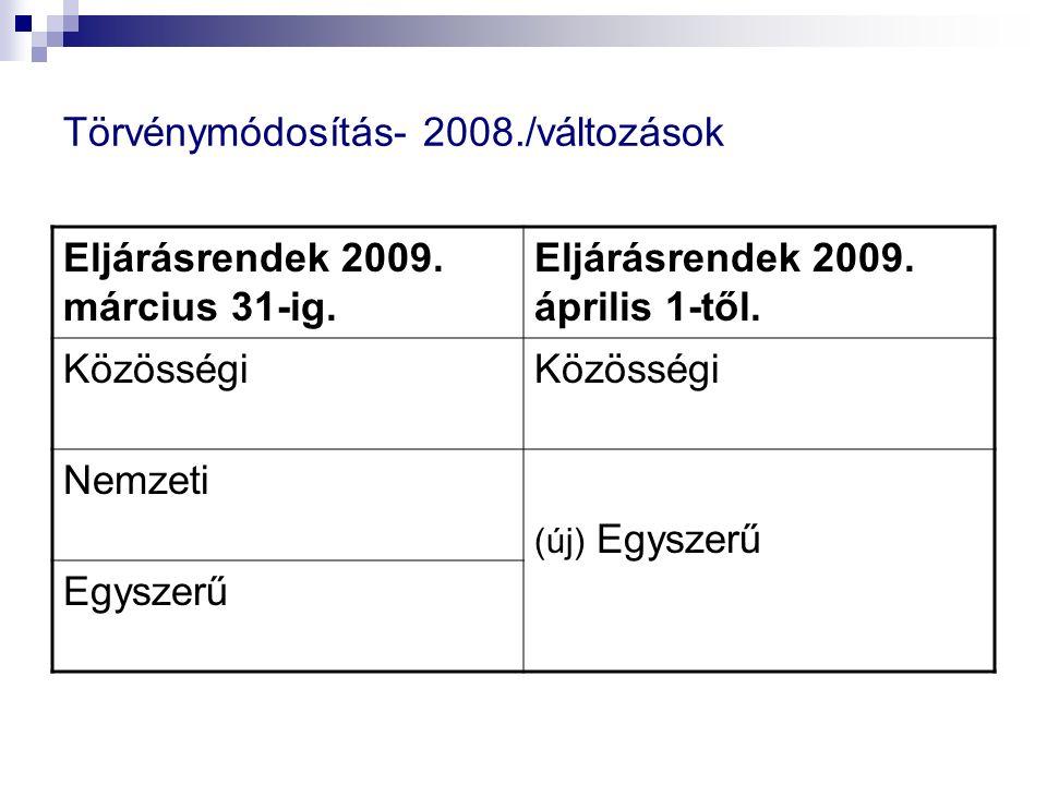Törvénymódosítás- 2008./változások Eljárásrendek 2009. március 31-ig. Eljárásrendek 2009. április 1-től. Közösségi Nemzeti (új) Egyszerű Egyszerű