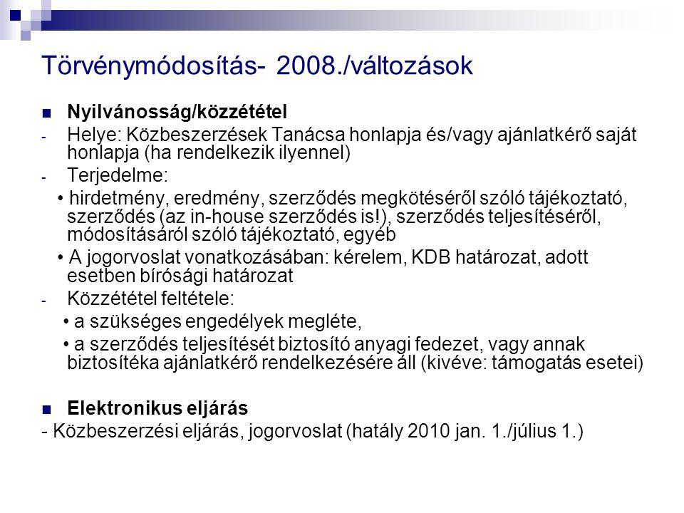 Törvénymódosítás- 2008./változások Nyilvánosság/közzététel - Helye: Közbeszerzések Tanácsa honlapja és/vagy ajánlatkérő saját honlapja (ha rendelkezik